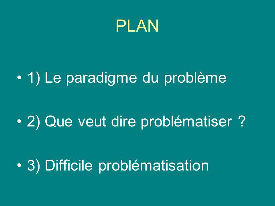 PLAN 1) Le paradigme du problème 2) Que veut dire problématiser ? 3) Difficile problématisation