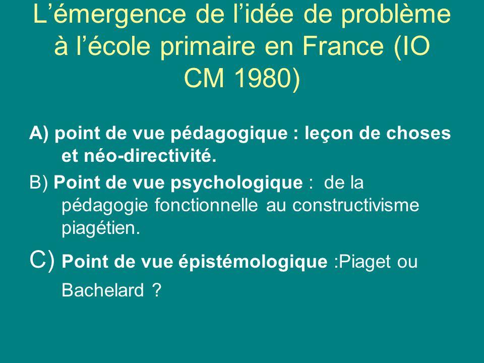 Lémergence de lidée de problème à lécole primaire en France (IO CM 1980) A) point de vue pédagogique : leçon de choses et néo-directivité. B) Point de