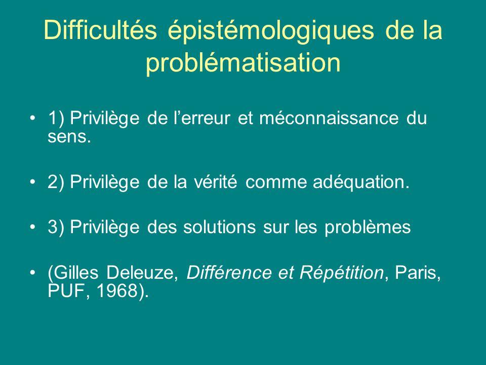 Difficultés épistémologiques de la problématisation 1) Privilège de lerreur et méconnaissance du sens. 2) Privilège de la vérité comme adéquation. 3)