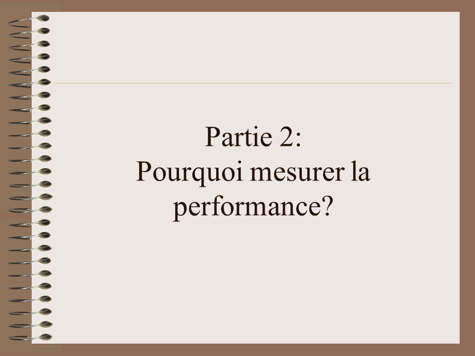 Partie 2: Pourquoi mesurer la performance?