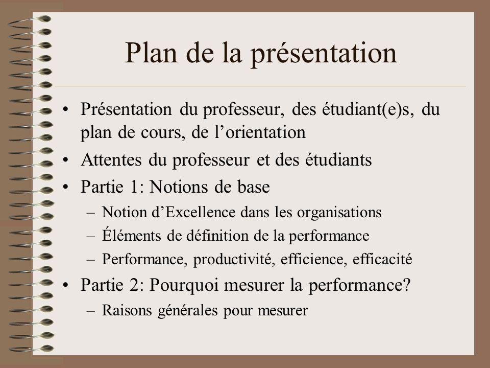 Plan de la présentation Présentation du professeur, des étudiant(e)s, du plan de cours, de lorientation Attentes du professeur et des étudiants Partie 1: Notions de base –Notion dExcellence dans les organisations –Éléments de définition de la performance –Performance, productivité, efficience, efficacité Partie 2: Pourquoi mesurer la performance.