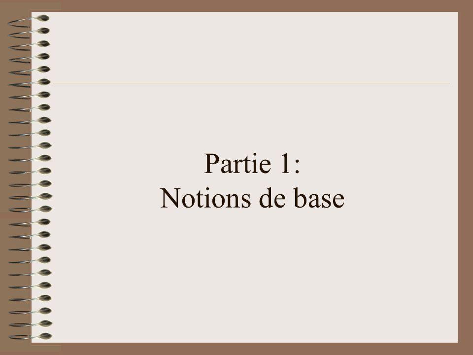 Partie 1: Notions de base