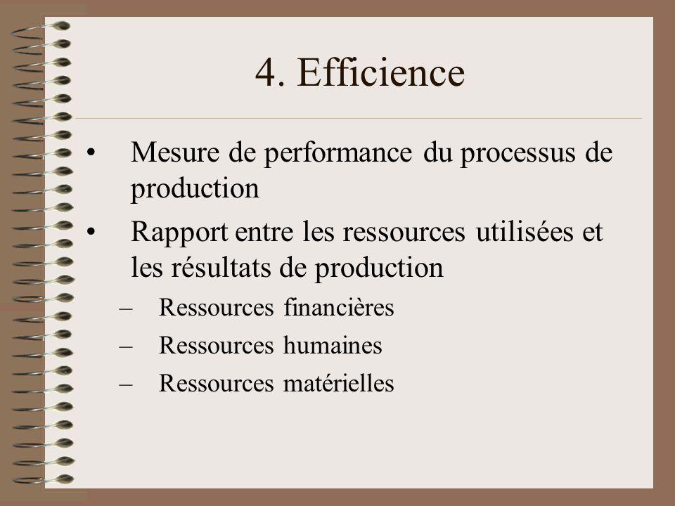 4. Efficience Mesure de performance du processus de production Rapport entre les ressources utilisées et les résultats de production –Ressources finan