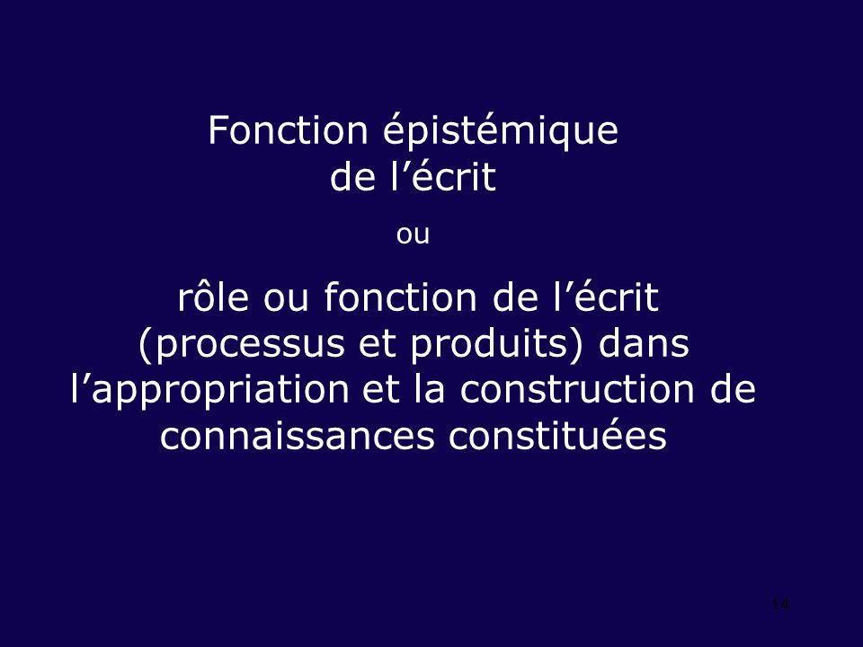 14 Fonction épistémique de lécrit ou rôle ou fonction de lécrit (processus et produits) dans lappropriation et la construction de connaissances constituées