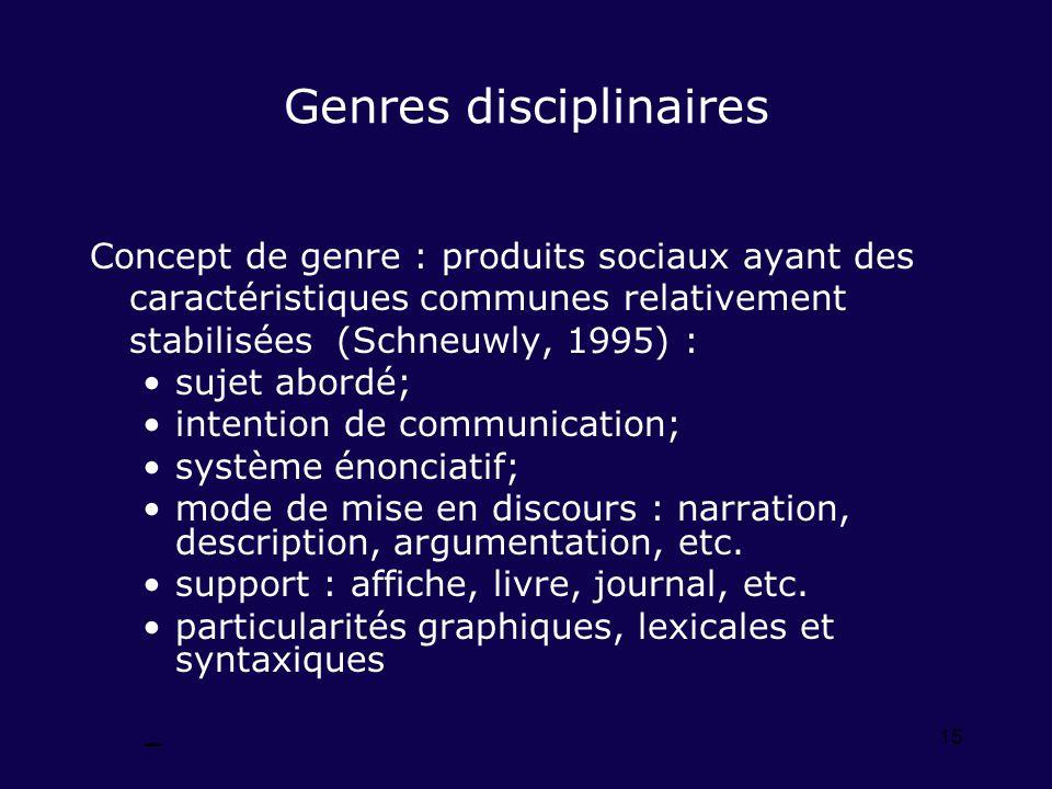 15 Genres disciplinaires Concept de genre : produits sociaux ayant des caractéristiques communes relativement stabilisées (Schneuwly, 1995) : sujet ab