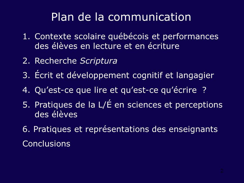 2 Plan de la communication 1.Contexte scolaire québécois et performances des élèves en lecture et en écriture 2.Recherche Scriptura 3.Écrit et dévelop
