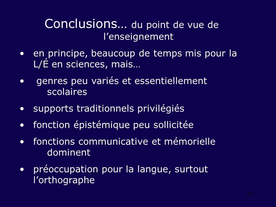 24 Conclusions… du point de vue de lenseignement en principe, beaucoup de temps mis pour la L/É en sciences, mais… genres peu variés et essentiellemen