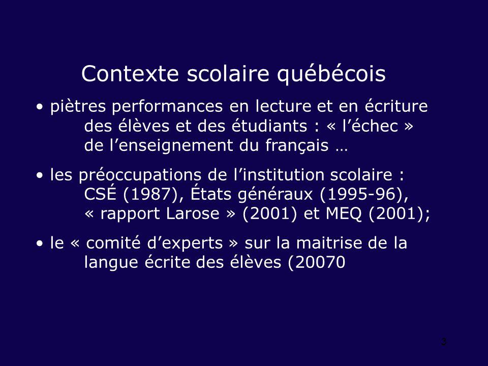 3 Contexte scolaire québécois piètres performances en lecture et en écriture des élèves et des étudiants : « léchec » de lenseignement du français … les préoccupations de linstitution scolaire : CSÉ (1987), États généraux (1995-96), « rapport Larose » (2001) et MEQ (2001); le « comité dexperts » sur la maitrise de la langue écrite des élèves (20070