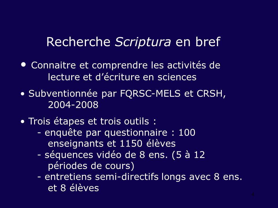 4 Recherche Scriptura en bref Connaitre et comprendre les activités de lecture et décriture en sciences Subventionnée par FQRSC-MELS et CRSH, 2004-2008 Trois étapes et trois outils : - enquête par questionnaire : 100 enseignants et 1150 élèves - séquences vidéo de 8 ens.