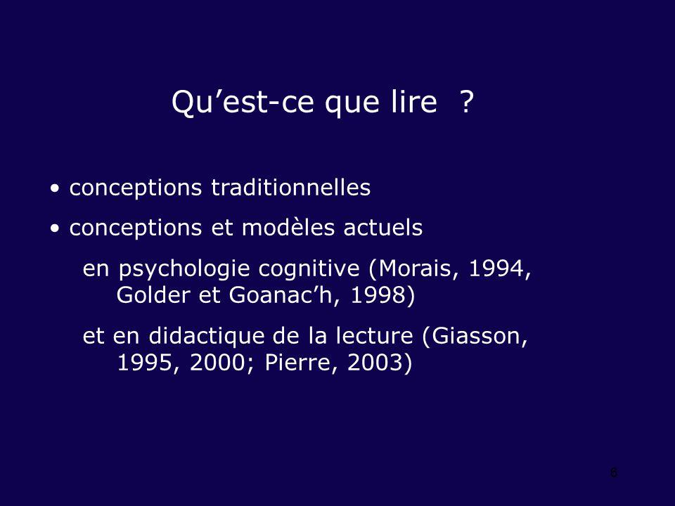 6 Quest-ce que lire ? conceptions traditionnelles conceptions et modèles actuels en psychologie cognitive (Morais, 1994, Golder et Goanach, 1998) et e