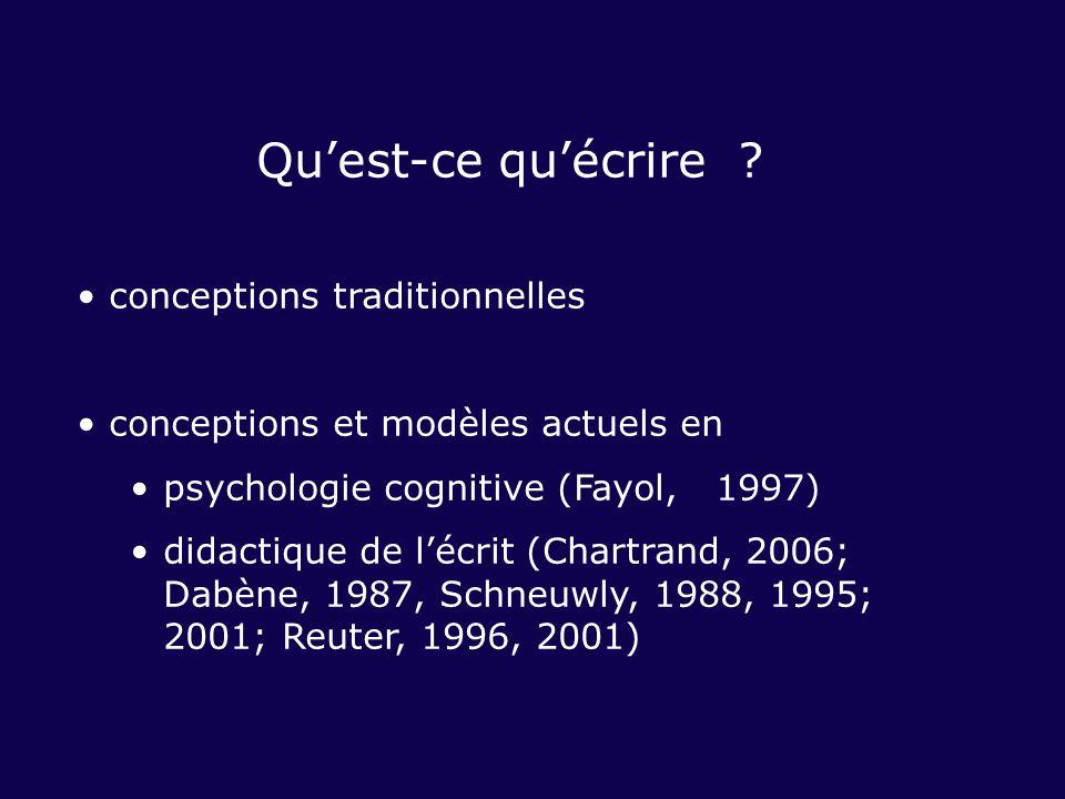 Quest-ce quécrire ? conceptions traditionnelles conceptions et modèles actuels en psychologie cognitive (Fayol, 1997) didactique de lécrit (Chartrand,