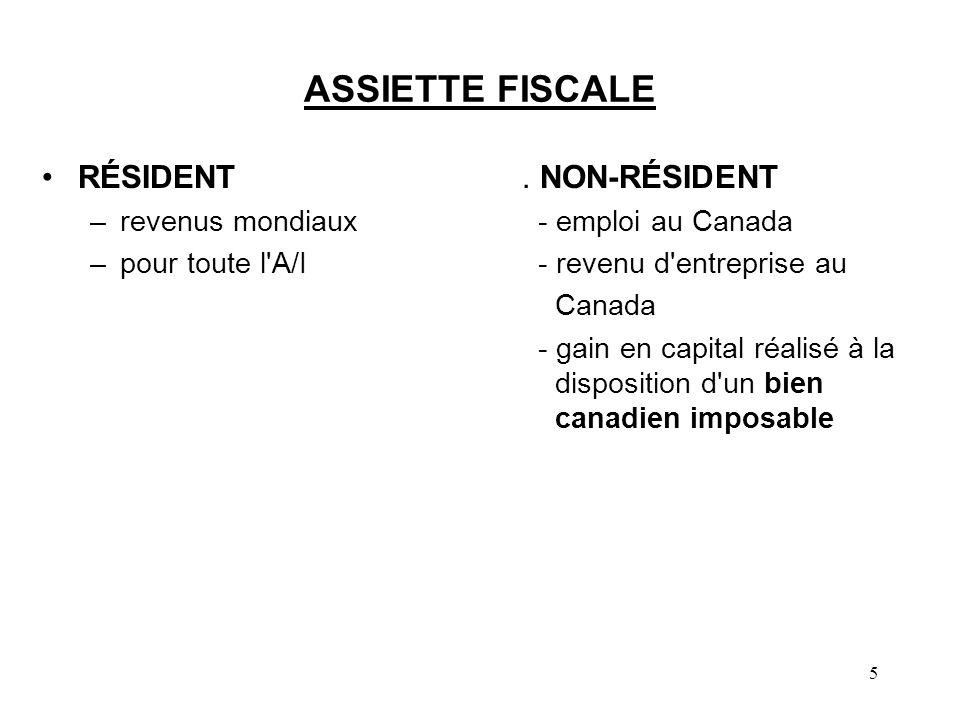 5 ASSIETTE FISCALE RÉSIDENT. NON-RÉSIDENT –revenus mondiaux - emploi au Canada –pour toute l'A/I - revenu d'entreprise au Canada - gain en capital réa