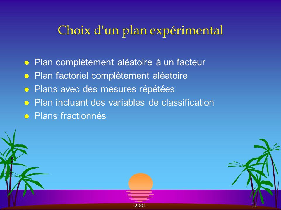 200111 Choix d un plan expérimental l Plan complètement aléatoire à un facteur l Plan factoriel complètement aléatoire l Plans avec des mesures répétées l Plan incluant des variables de classification l Plans fractionnés