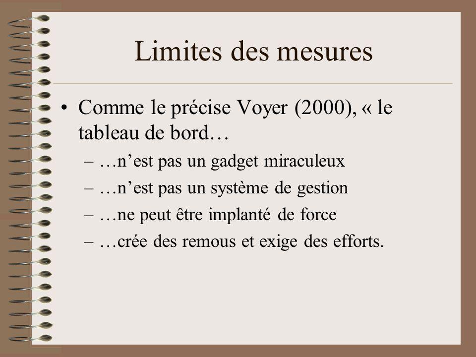 En guise de synthèse… (6 Sigma) Tout se mesure Donc: multitude doptions Nécessité dun choix judicieux dindicateurs et de critères Idéalement: quelques éléments de mesure des intrants (x1, x2, etc.), des processus et des extrants (y1, y2, etc.)