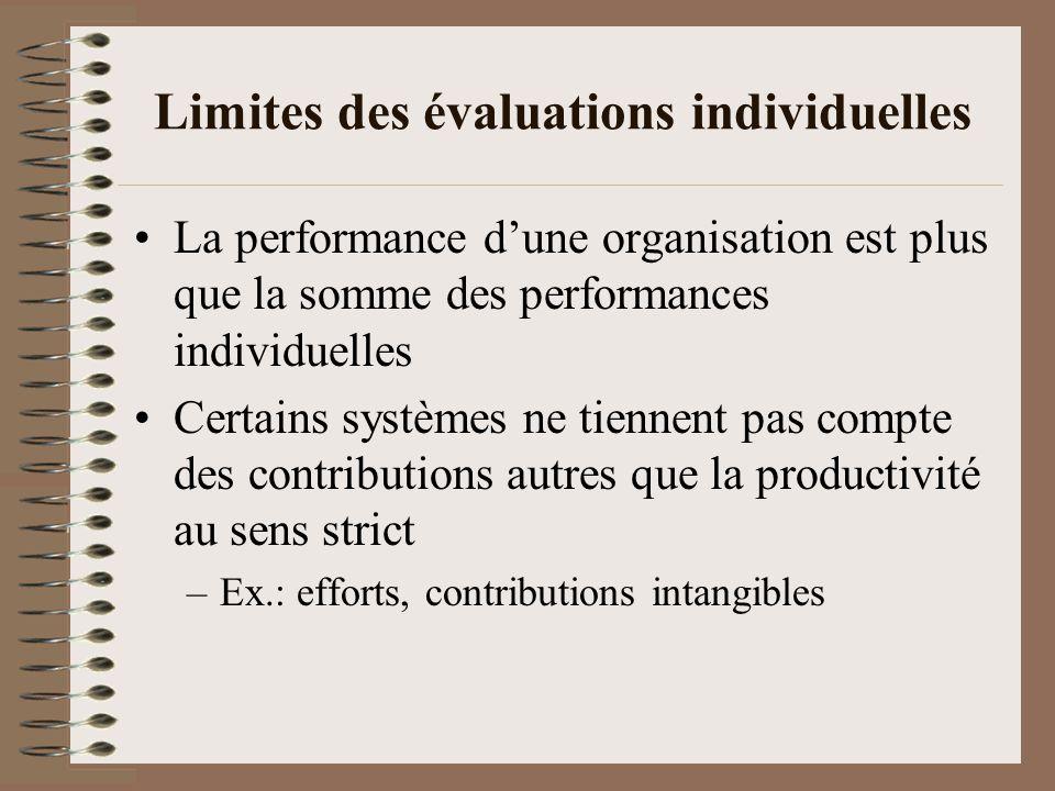 En somme… Lévaluation des performances individuelles est importante voire nécessaire (utile den tenir compte dans un tableau de bord)… … mais seule, elle ne suffit pas.