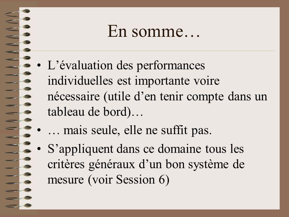 En somme… Lévaluation des performances individuelles est importante voire nécessaire (utile den tenir compte dans un tableau de bord)… … mais seule, e