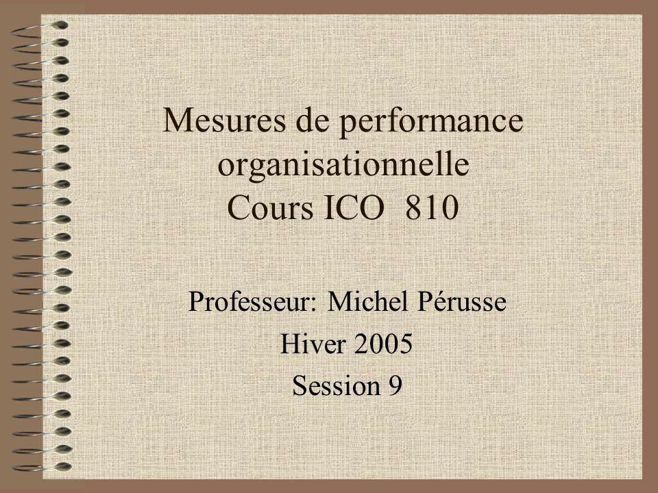 Mesures de performance organisationnelle Cours ICO 810 Professeur: Michel Pérusse Hiver 2005 Session 9