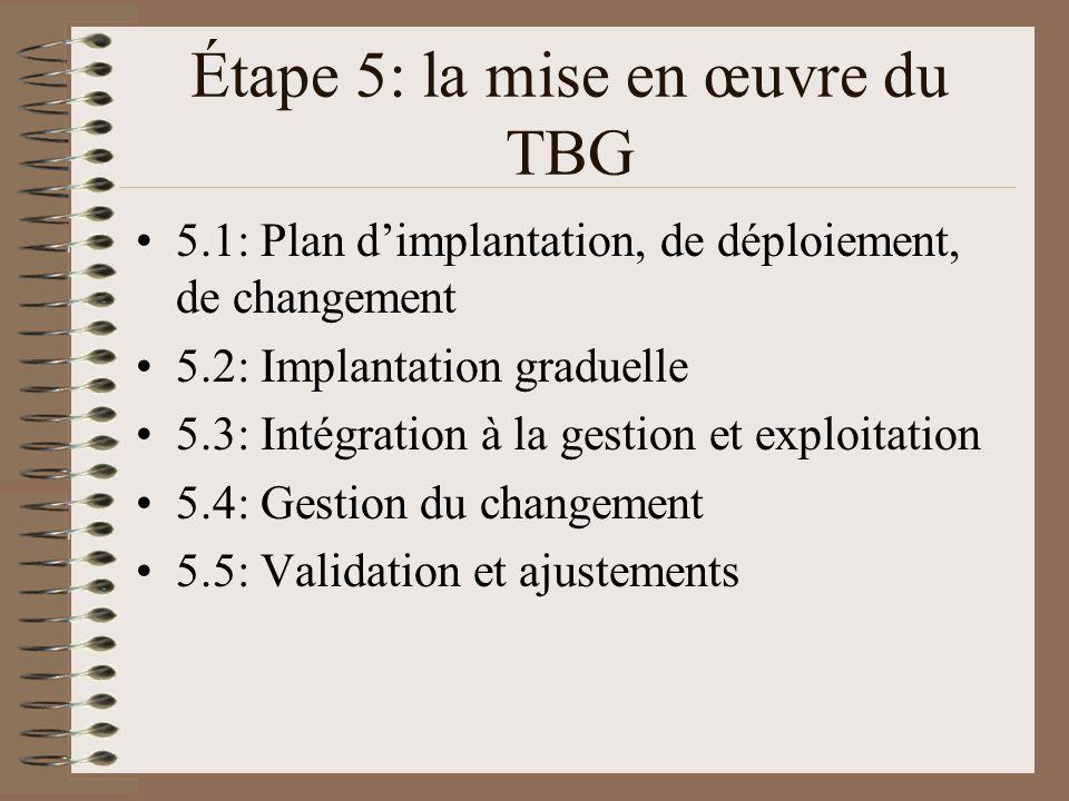 Étape 5: la mise en œuvre du TBG 5.1: Plan dimplantation, de déploiement, de changement 5.2: Implantation graduelle 5.3: Intégration à la gestion et exploitation 5.4: Gestion du changement 5.5: Validation et ajustements
