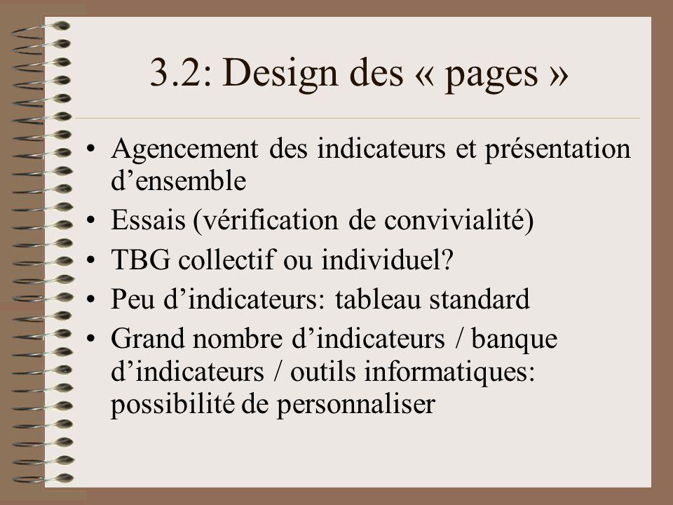 3.2: Design des « pages » Agencement des indicateurs et présentation densemble Essais (vérification de convivialité) TBG collectif ou individuel? Peu