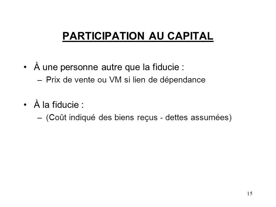 15 PARTICIPATION AU CAPITAL À une personne autre que la fiducie : –Prix de vente ou VM si lien de dépendance À la fiducie : –(Coût indiqué des biens r