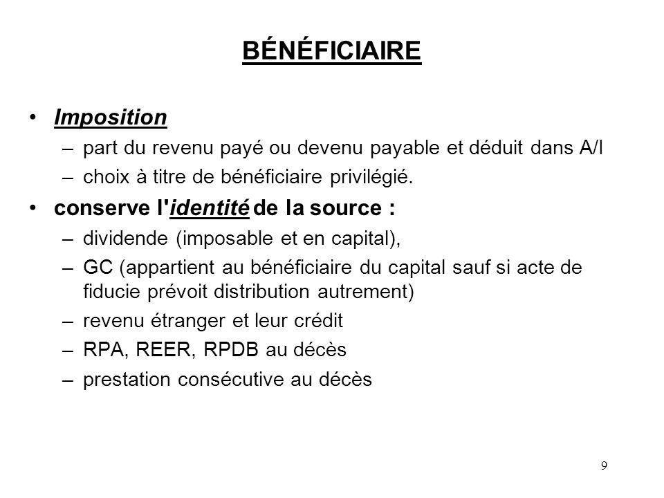 9 BÉNÉFICIAIRE Imposition –part du revenu payé ou devenu payable et déduit dans A/I –choix à titre de bénéficiaire privilégié. conserve l'identité de