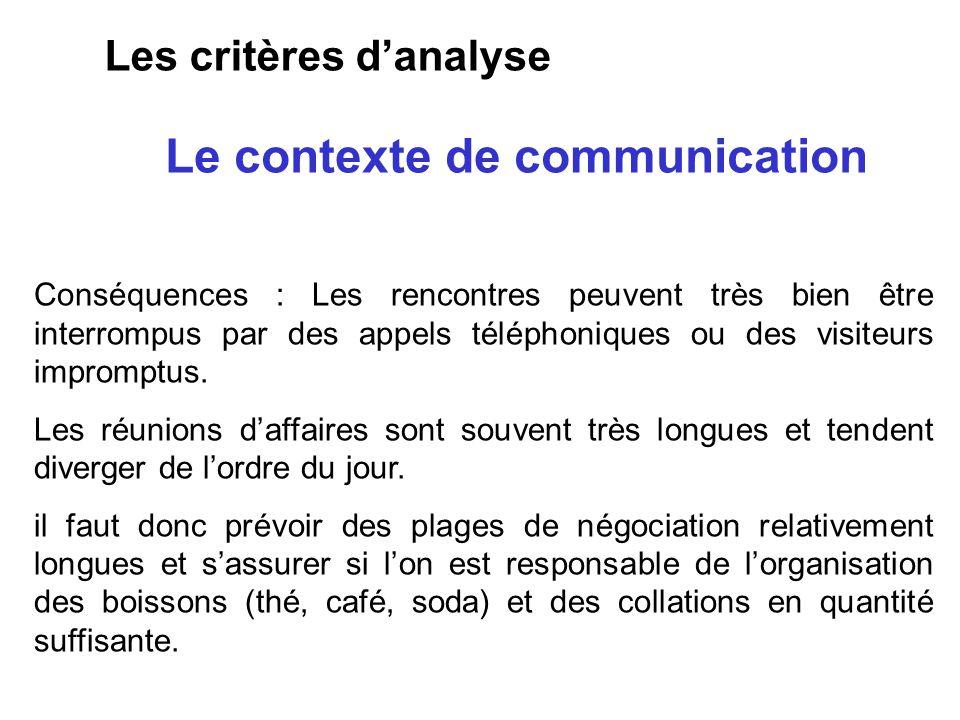 Le contexte de communication Les critères danalyse Conséquences : Les rencontres peuvent très bien être interrompus par des appels téléphoniques ou de