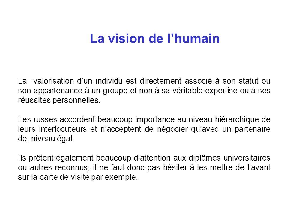 La vision de lhumain La valorisation dun individu est directement associé à son statut ou son appartenance à un groupe et non à sa véritable expertise