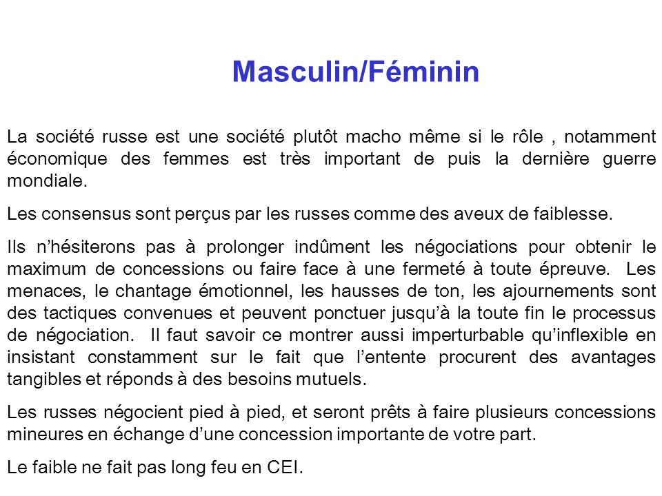 Masculin/Féminin La société russe est une société plutôt macho même si le rôle, notamment économique des femmes est très important de puis la dernière