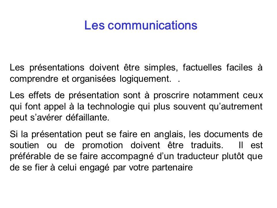 Les communications Les présentations doivent être simples, factuelles faciles à comprendre et organisées logiquement.. Les effets de présentation sont