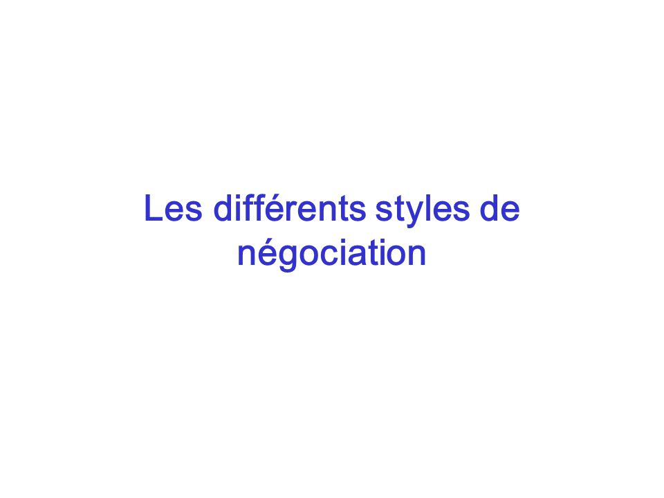 Les différents styles de négociation