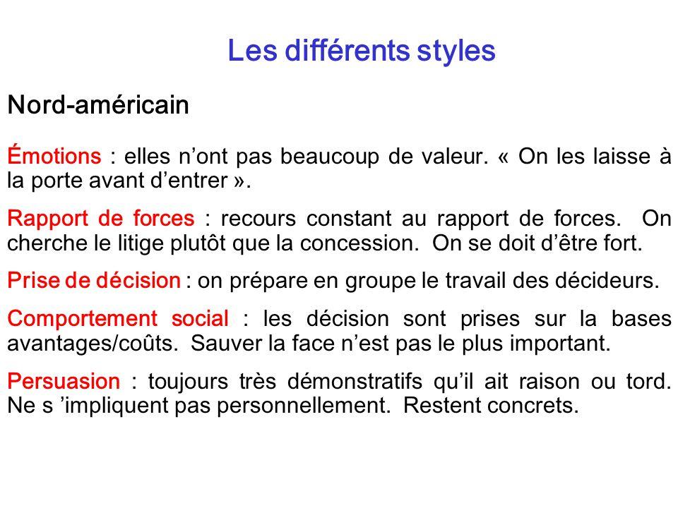 Les différents styles Nord-américain Émotions : elles nont pas beaucoup de valeur. « On les laisse à la porte avant dentrer ». Rapport de forces : rec