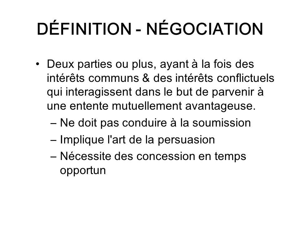 DÉFINITION - NÉGOCIATION Deux parties ou plus, ayant à la fois des intérêts communs & des intérêts conflictuels qui interagissent dans le but de parve