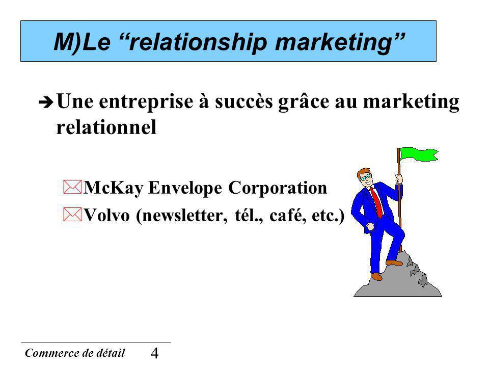 Commerce de détail 4 M)Le relationship marketing Une entreprise à succès grâce au marketing relationnel *McKay Envelope Corporation *Volvo (newsletter