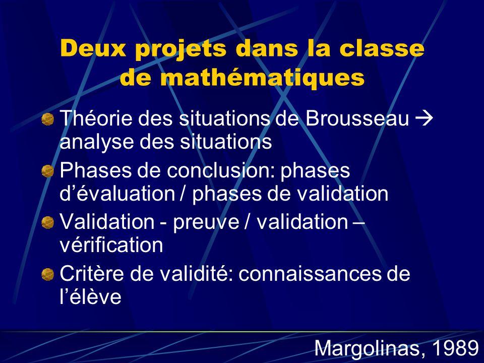 Deux projets dans la classe de mathématiques Théorie des situations de Brousseau analyse des situations Phases de conclusion: phases dévaluation / pha
