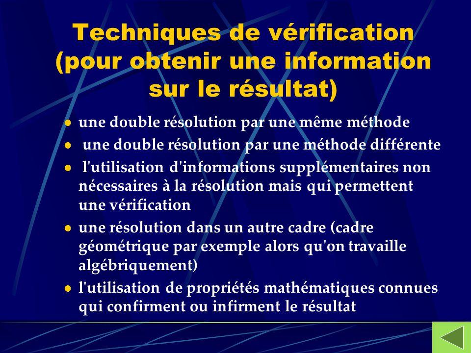 Techniques de vérification (pour obtenir une information sur le résultat) une double résolution par une même méthode une double résolution par une mét