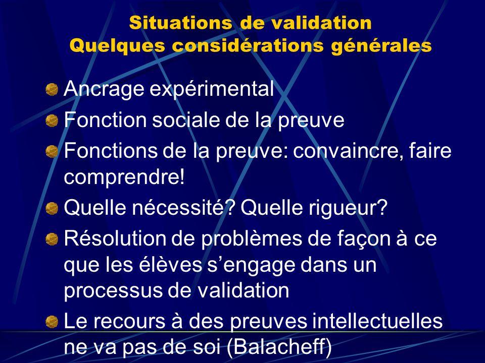 Situations de validation Quelques considérations générales Ancrage expérimental Fonction sociale de la preuve Fonctions de la preuve: convaincre, fair