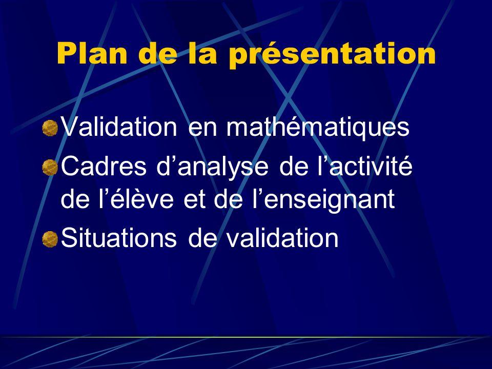 Validation en mathématiques En conclusion dune résolution de problème, pour vérifier une procédure Pour sassurer davoir la bonne réponse Pour convaincre dun résultat Pour vérifier une conjecture Pour tester un modèle Dans la communauté mathématique, pour prouver quun énoncé est vrai et linsérer dans une théorie pour partager le savoir