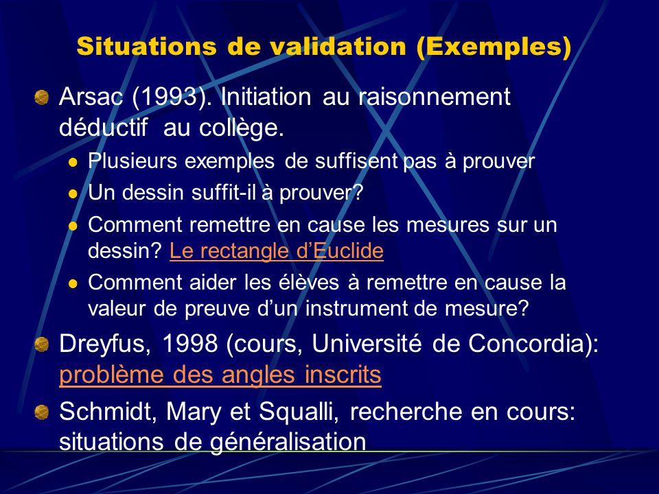 Situations de validation (Exemples) Arsac (1993). Initiation au raisonnement déductif au collège. Plusieurs exemples de suffisent pas à prouver Un des