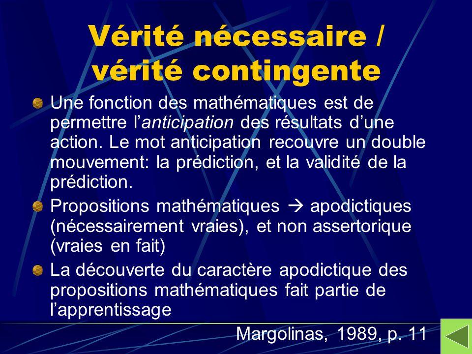 Vérité nécessaire / vérité contingente Une fonction des mathématiques est de permettre lanticipation des résultats dune action. Le mot anticipation re
