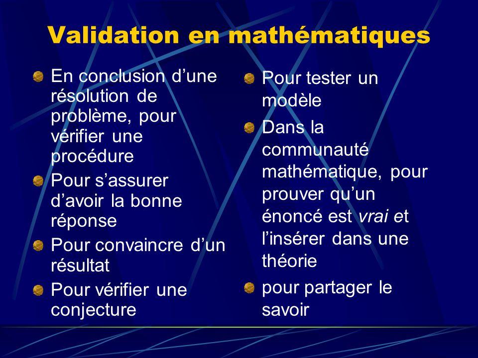 Validation en mathématiques En conclusion dune résolution de problème, pour vérifier une procédure Pour sassurer davoir la bonne réponse Pour convainc