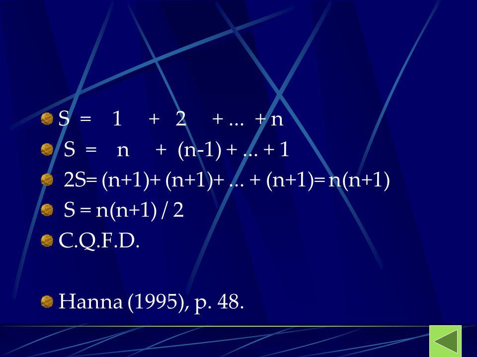 S = 1 + 2 +... + n S = n + (n-1) +... + 1 2S= (n+1)+ (n+1)+... + (n+1)= n(n+1) S = n(n+1) / 2 C.Q.F.D. Hanna (1995), p. 48.