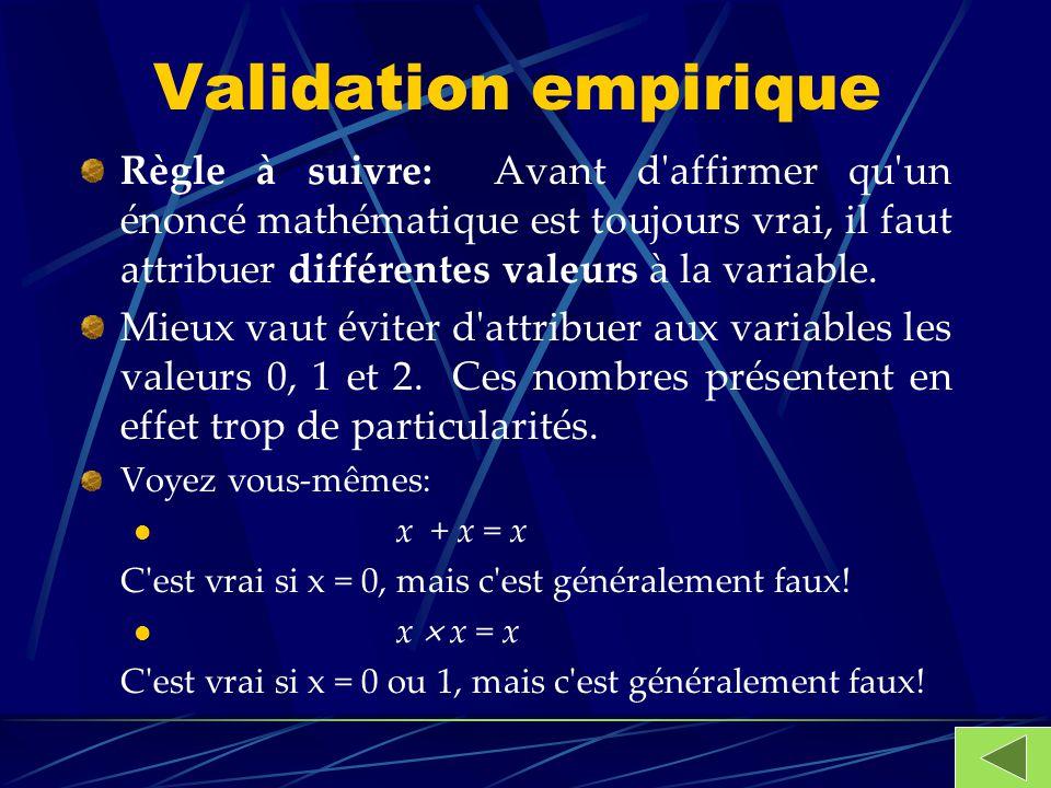 Validation empirique Règle à suivre: Avant d'affirmer qu'un énoncé mathématique est toujours vrai, il faut attribuer différentes valeurs à la variable