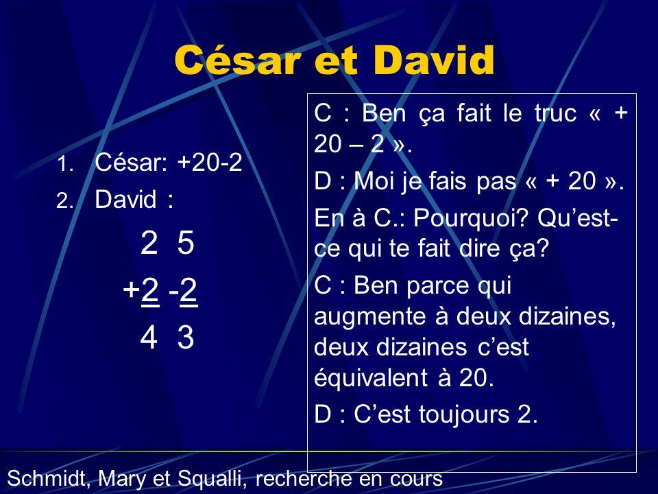 César et David 1. César: +20-2 2. David : 2 5 +2 -2 4 3 C : Ben ça fait le truc « + 20 – 2 ». D : Moi je fais pas « + 20 ». En à C.: Pourquoi? Quest-