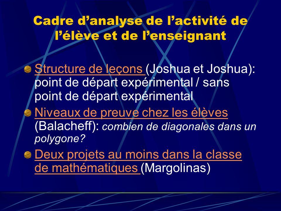 Cadre danalyse de lactivité de lélève et de lenseignant Structure de leçons Structure de leçons (Joshua et Joshua): point de départ expérimental / san
