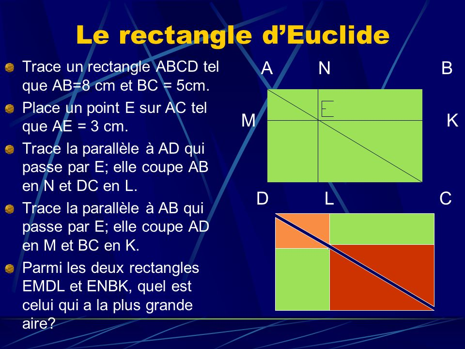 Le rectangle dEuclide Trace un rectangle ABCD tel que AB=8 cm et BC = 5cm. Place un point E sur AC tel que AE = 3 cm. Trace la parallèle à AD qui pass