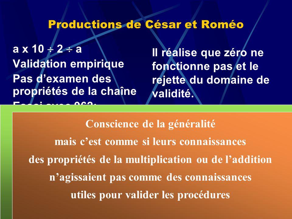Productions de César et Roméo a x 10 2 a Validation empirique Pas dexamen des propriétés de la chaîne Essai avec 962: expérience cruciale Un élève pro