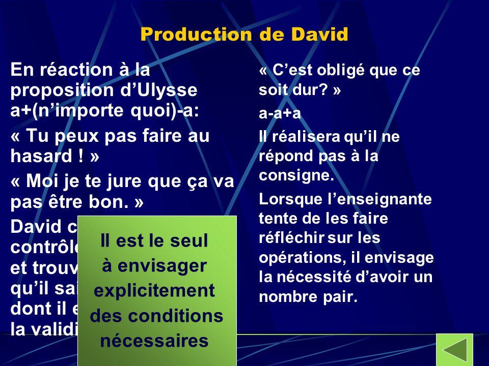 Production de David En réaction à la proposition dUlysse a+(nimporte quoi)-a: « Tu peux pas faire au hasard ! » « Moi je te jure que ça va pas être bo