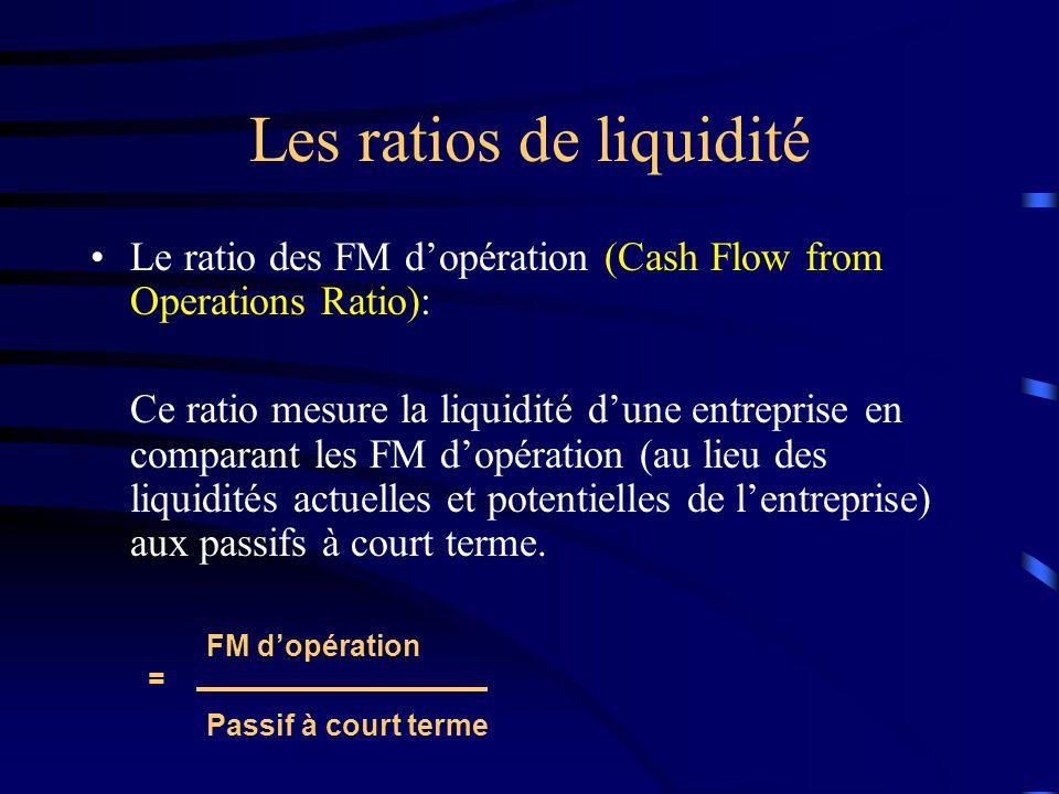 Les ratios de liquidité Le ratio des FM dopération (Cash Flow from Operations Ratio): Ce ratio mesure la liquidité dune entreprise en comparant les FM