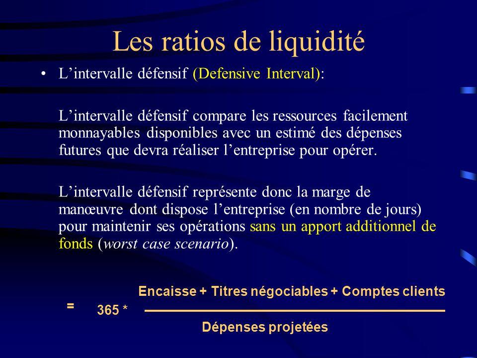 Les ratios de liquidité Lintervalle défensif (Defensive Interval): Lintervalle défensif compare les ressources facilement monnayables disponibles avec un estimé des dépenses futures que devra réaliser lentreprise pour opérer.