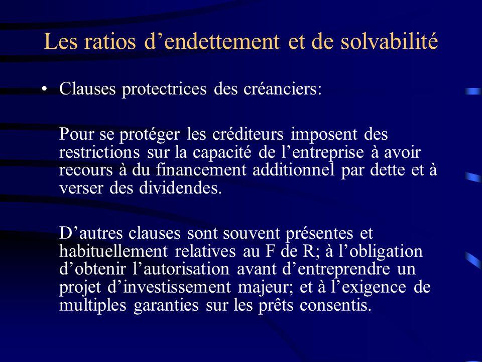 Les ratios dendettement et de solvabilité Clauses protectrices des créanciers: Pour se protéger les créditeurs imposent des restrictions sur la capacité de lentreprise à avoir recours à du financement additionnel par dette et à verser des dividendes.